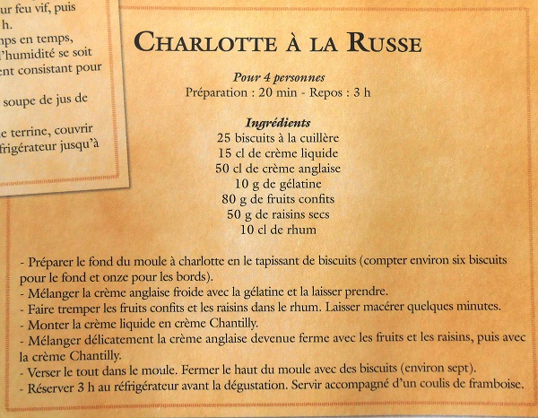 Recette, recipe, charlotte à la Russe