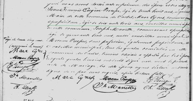 Marc Cyrus, commerçant, propriétaire, conseiller municipal 1849 Martinique Le Carbet