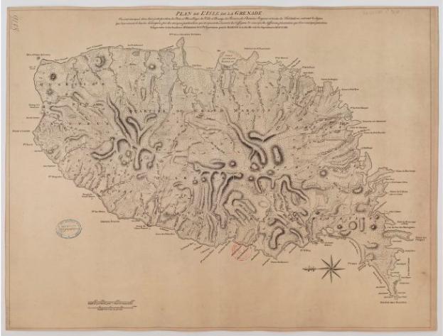Plan île de la grenade, Map Grenada Island
