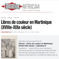 Libres de couleur en Martinique, l'interview sur Libération.