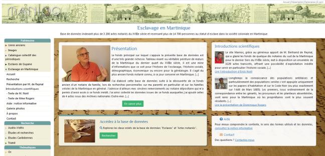tanlistwa, page d'accueil de la base de donnée, esclavage en Martinique, manioc.org, database