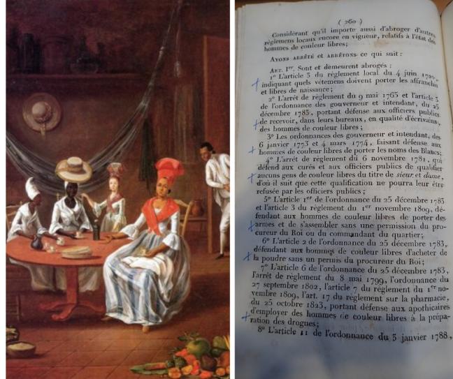 tanlistwa, à gauche il y a un détail de la peinture la famille métisse de Le Mazurier, à droite une page d'u journal officiel déclarant l'abrogation du préjugé de couleur.