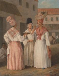 tanlistwa, peinture représentant 3 femmes dans la rue. L'une d'elle tient un plateau, une autre sent une fleur qu'elle tient à la main, visiblement pris du plateau, la troisième l'observe.