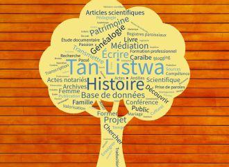tanlistwa, image d'un nuage de mot en forme d'arbre comprenant des mots (histoire, généalogie, base de données, projet, patrimoine...)