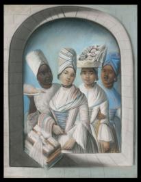 tanlistwa, peinture représentant quatre femmes noires de différentes nuances de peau, richement vêtues et parées de bijouxx