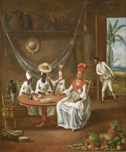 tanlistwa, peinture représentant à l'avant plance des fruits tropicaux et un panier de poisson, une malle de vanerie... au centre une table autour de laquelle sont assises trois femmes et une fjeune fille debout de couleur différentes et dont les habits montrent aussi la différences de statut, un petit garçon noir torse nu, pantalon de toile blanche est derrière l'une d'elle. Dans le fond d'autres objets (hamac, chapeau, dame jeanne...) et un homme métissé qui entre dans la pièce saluant les dames.