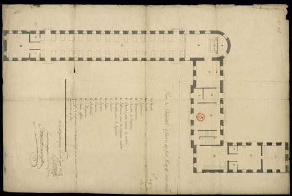 """tanlistwa, Binois de Reteuil, Nicolas, ingénieur en chef,""""Plan de l'hôpital à faire au fort Royal de la Martinique."""", 15 juin 1708, map"""