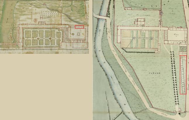 Tanlistwa, Extraits des plans de l'hôpital de Fort-Royal de 1763 et 1808. Les rectangles rouges signalent les espaces dédiés au logement des esclaves.