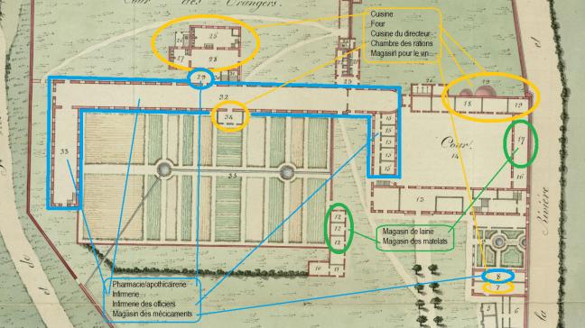 tanlistwa, Extrait du plan de 1808 soulignant les espaces où travaillaient certains esclaves en fonction du type d'activités.