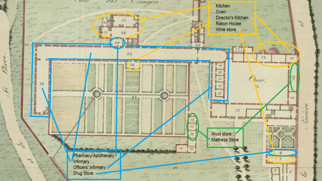tanlistwa, Detail of the 1808 plan highlighting the spaces where some enslaved people worked according to the type of activities.