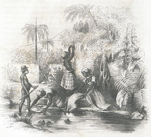 Tanlistwa, gravure représentant des blanchisseuses ou Lavandièresau bord d'une rivière, l'une rince son linge dans la rivière, une autre le frotte au bord de la rivière, une troisième l'étend à sécher dans un arbre, à côté un panier de vannerie contient du linge, un homme ou garçon qui semble être nu est debout dans la rivière de l'eau au niveau des cheville, il tient un baton et porte un chapeau