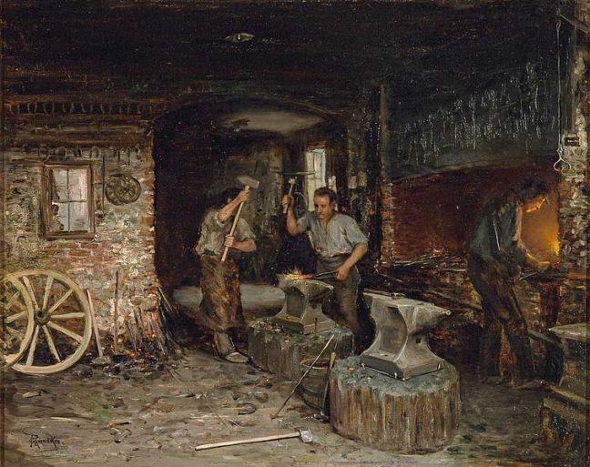 tanlistwa, peinture représentant l'intérieur d'une forge, à droite un homme devant un foyer semble fondre du metal, au centre deux hommes travaillent un métal posé sur une enclume à l'aide de marteaux, on voit aussi divers outils ça et là et des fers à chevaux suspendu à un mur.