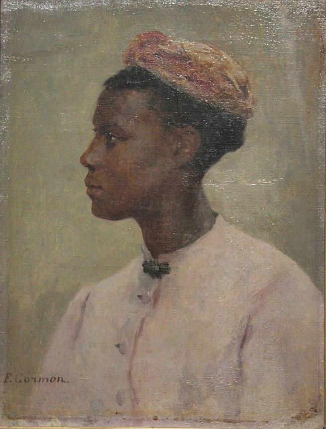tanlistwa, peinture, portrait d'une femme noire de côté, portant une chemise blanche à bouton fermé au cou par une broche sombre, elle porte une coiffe de tissus