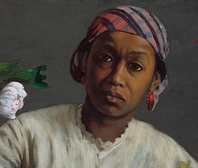 tanlistwa, extrait d'une peinture montrant le portrait d'une femme noire, de face, regardant le peintre, elle est coiffée d'un madras, porte des boucles d'oreille ronde rouge, elle a une chemise blanche