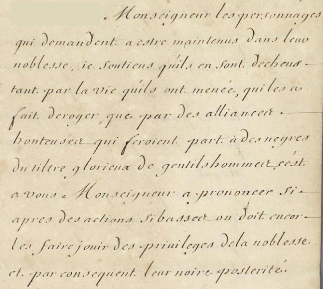 tanlistwa, archives, Extrait d'une lettre du gouverneur Machault évoquant les frères Dubois de Lachenaye, 1703.