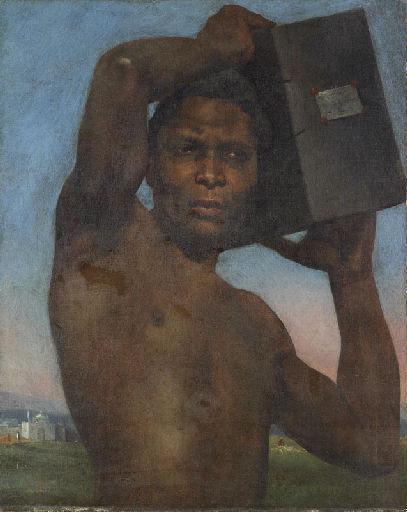 tanlistwa, peinture représentant un homme Noir, buste et tête presque de face, torse nu, portant une caisse sur sa gauche décollée de son épaule qu'il tient à deux mains, il a le regard droit comme posé au loin, en arrière plan un paysage lointain avec un batîment blanc sur la gauche