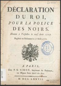 tanlistwa, couverture de la Déclaration du Roi, pour la police des Noirs: donnée à Versailles le neuf août 1777