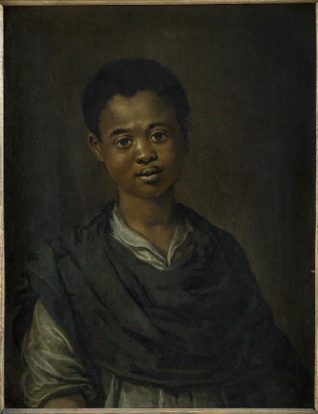 tanlistwa, peinture sur fond sombre représentant un jeune garçon noir de face, visage rond et jonflue, regardant vers le peintre, il porte une chemise claire simple, surmontée d'une étoffe sombre, il semble sourire légèrement