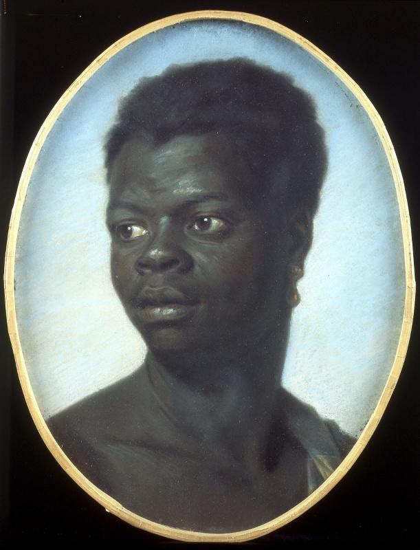 tanlistwa, peinture,en forme de médaillon, portrait de trois-quart d'un jeune homme noir portant une boucle d'oreille en or
