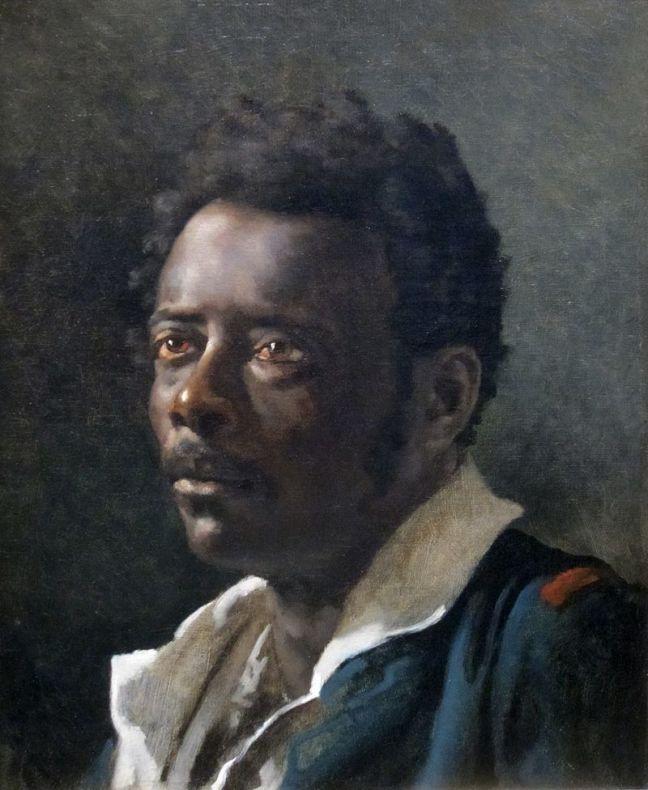 tanlistwa, peinture,représentant Joseph, portrait de trois-quart, son regard semble perdu au loin, il porte une chemise blanche surmontée d'une verste bleur avec épaulette rouge