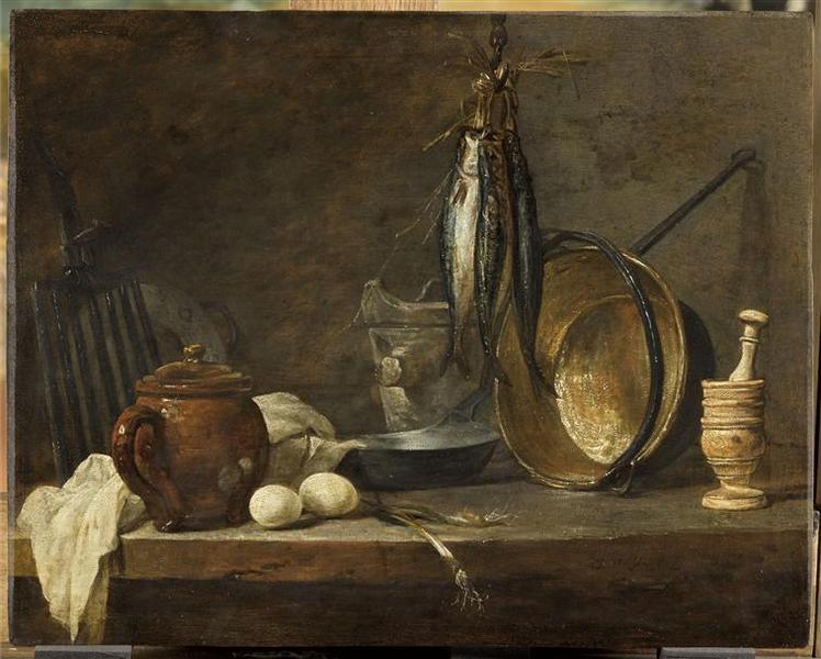 tanlistwa, Menu de maigre et ustensiles de cuisine par Jean Siméon Chardin, 1731, peinture à l'huile