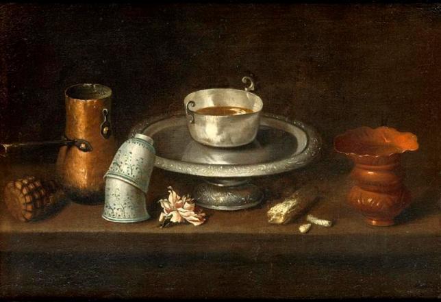 tanlistwa, Nature morte au bol de chocolat par Juan de ZURBARAN vers 1640, peinture à l'huile sur toile